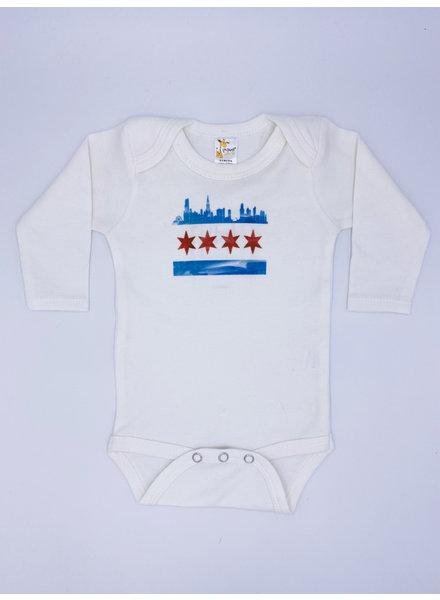 Emerson & Friends Long Sleeve Chicago Skyline Flag Onesie