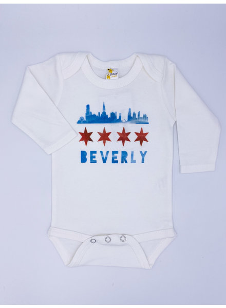 Emerson & Friends Long Sleeve Skyline Flag 'Beverly' Onesie