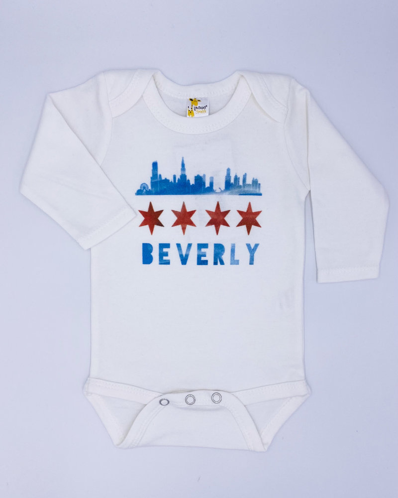 Emerson & Friends Emerson & Friends Long Sleeve Skyline Flag 'Beverly' Onesie
