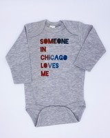 Emerson & Friends Long Sleeve Grey Red Blue 'Someone In Chicago' Onesie