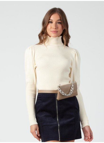 Lucca Couture 'Bekka' Turtleneck Puff Sleeve Sweater **FINAL SALE**