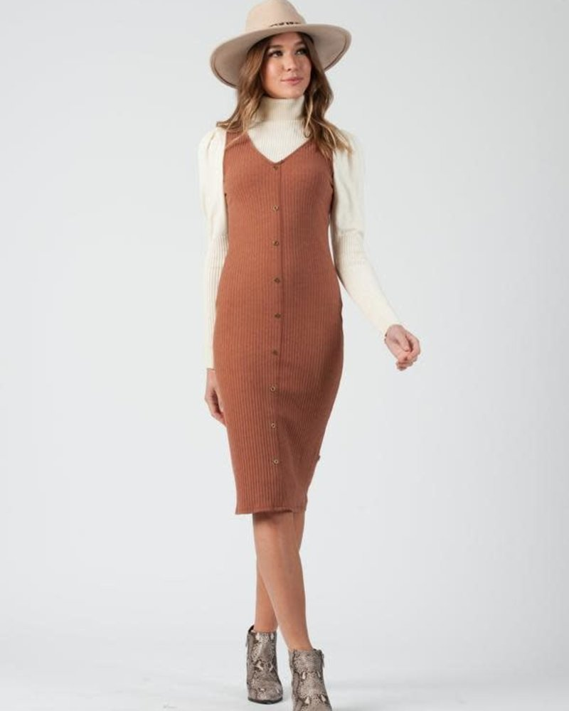 Lucca Couture Lucca 'Austin' Ribbed V-Neck Tank Dress