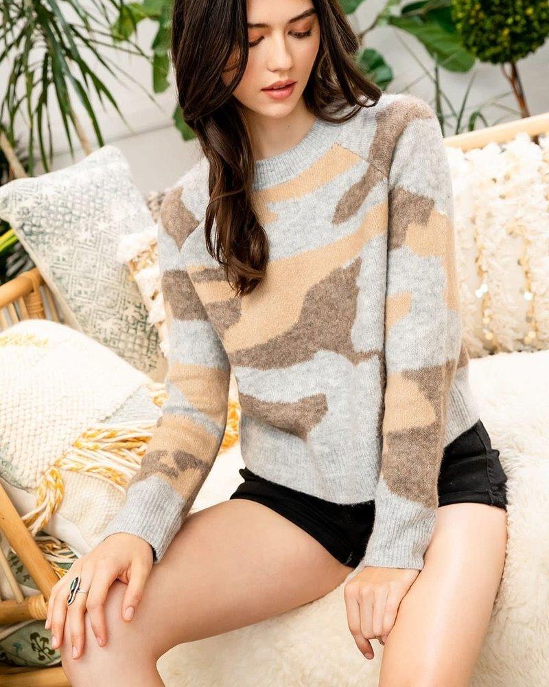 THML THML 'Hide & Seek' Camo Sweater