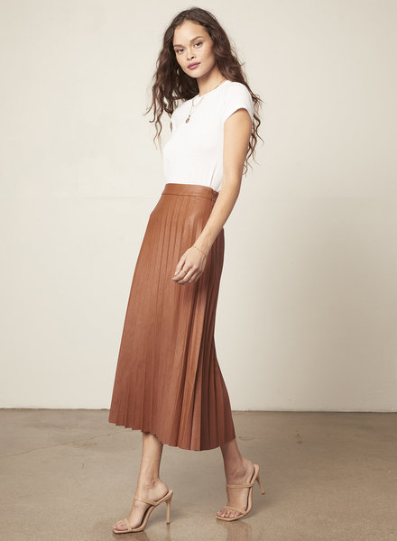 Cupcakes & Cashmere 'Trinity' Faux Leather Midi Skirt