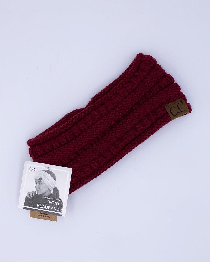 CC Fleece-Lined Knit Ponytail Headband