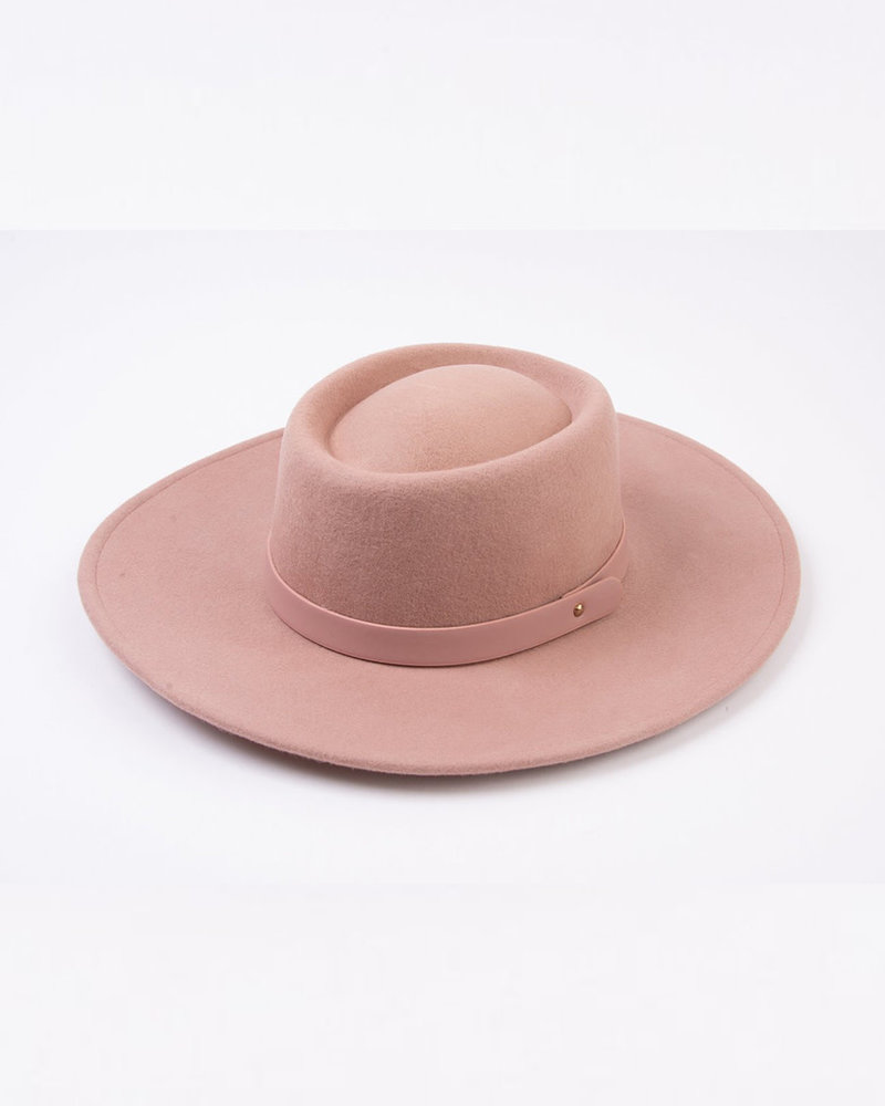 Lucca Couture Lucca 'Crepe' Wool Boater Hat | Mauve