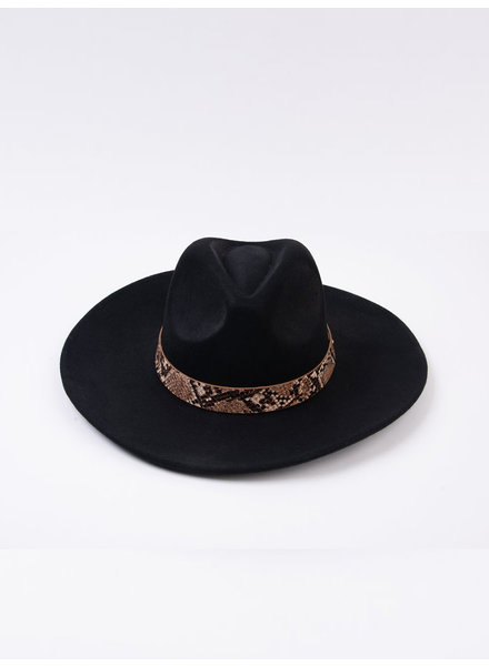 Lucca Couture 'Fanny' Snake Trim Wool Fedora | Black