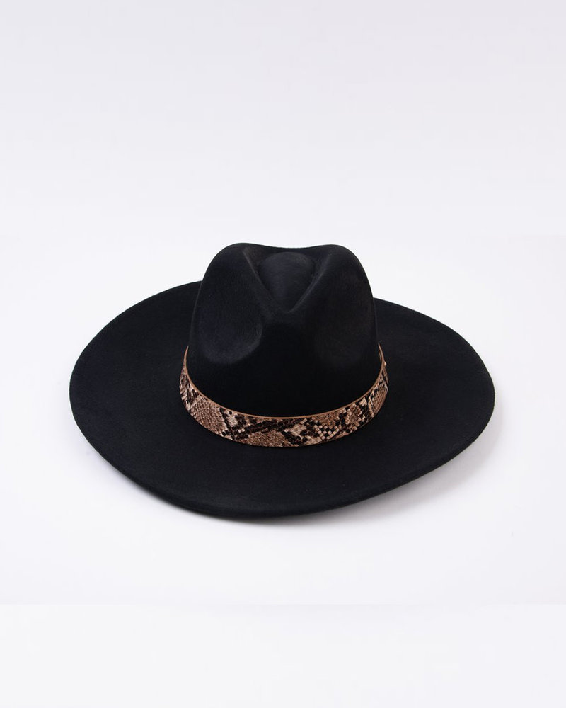 Lucca Couture Lucca 'Fanny' Snake Trim Wool Fedora | Black