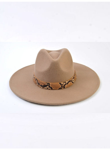 Lucca Couture 'Fanny' Snake Trim Wool Fedora | Taupe