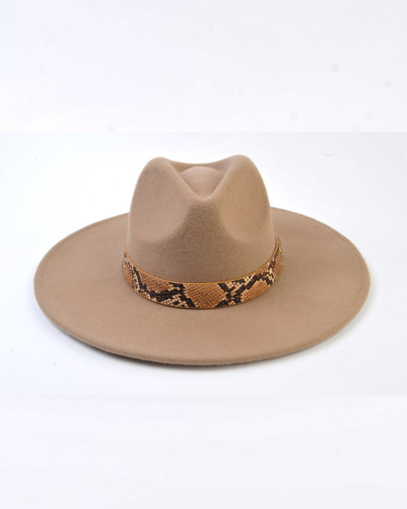Lucca Couture Lucca 'Fanny' Snake Trim Wool Fedora | Taupe