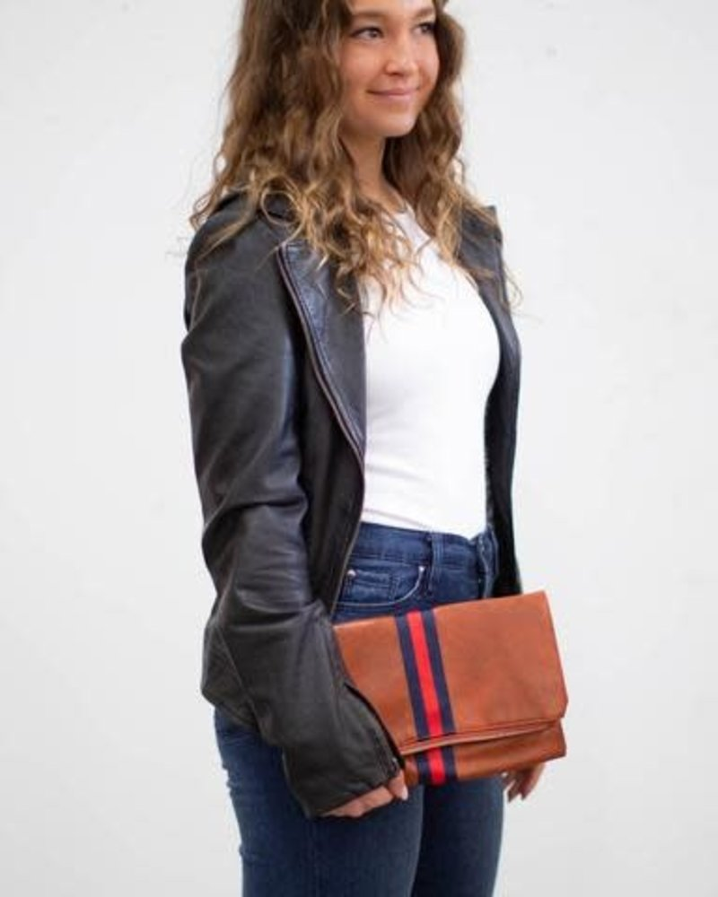Funky Monkey Funky Monkey Camel 'Preppy' Stripe Foldover Clutch | Navy & Red