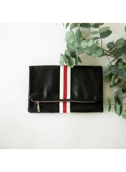 Funky Monkey Black 'Preppy' Stripe Foldover Clutch | Red & White
