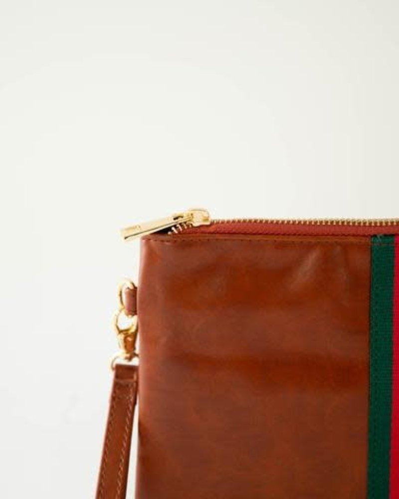Funky Monkey Funky Monkey Camel 'Preppy' Stripe Zipper Clutch | Red & Green