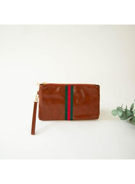 Funky Monkey Camel 'Preppy' Stripe Zipper Clutch | Red & Green