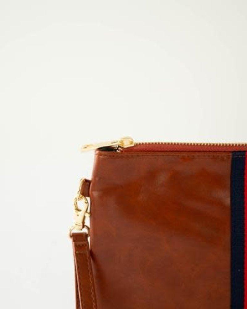Funky Monkey Funky Monkey Camel 'Preppy' Stripe Zipper Clutch   Red & Navy
