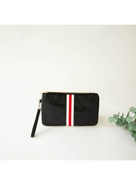 Funky Monkey Black 'Preppy' Stripe Zipper Clutch | Red & White