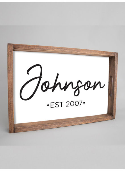 Marshes, Fields & Hills by Rustic Marlin Personalized Script Serving Tray