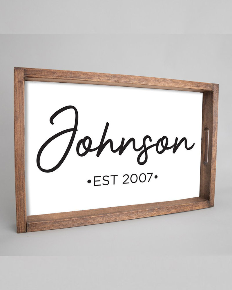 Marshes, Fields & Hills by Rustic Marlin Rustic Marlin Personalized Script Serving Tray