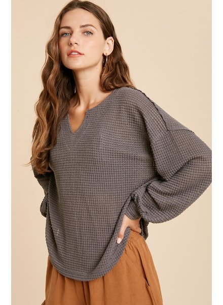 Wishlist Charcoal 'Just A Side Of Waffles' Top
