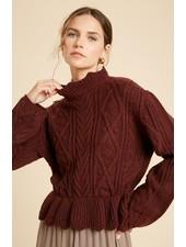 Wishlist Wine 'Scallops on the Menu' Ruffle Hem Sweater