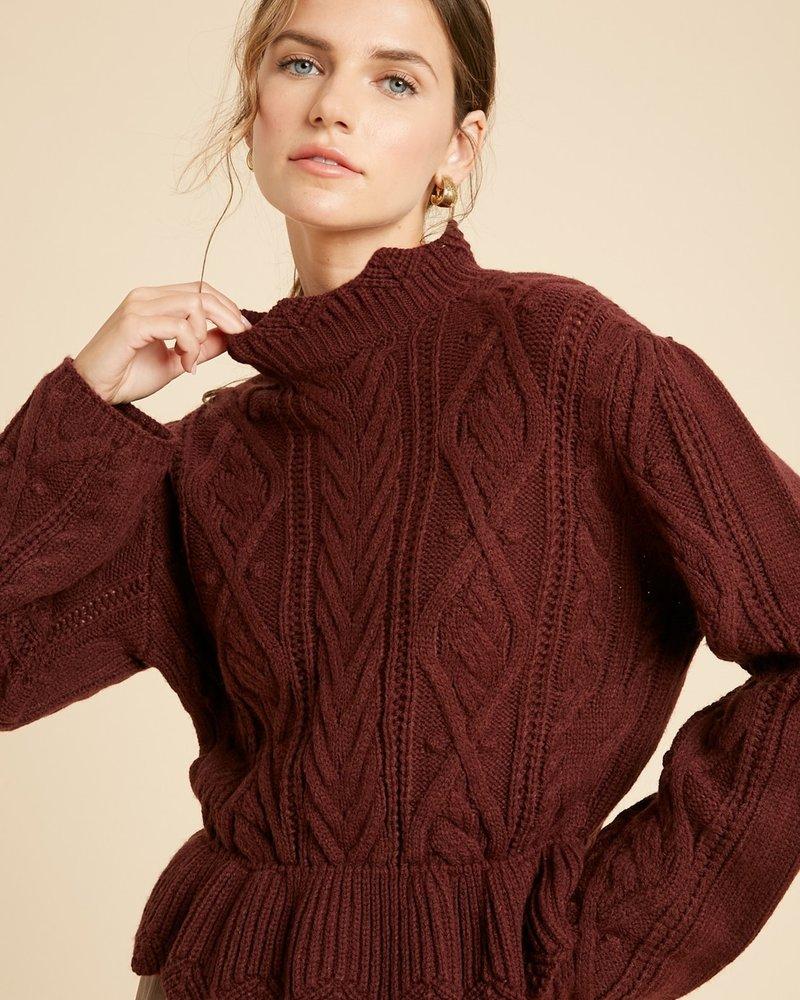 Wishlist Wishlist Wine 'Scallops on the Menu' Ruffle Hem Sweater