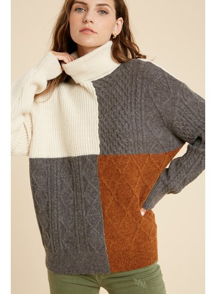 Wishlist Cream Charcoal 'I'll Block You' Colorblock Turtleneck Sweater **FINAL SALE**