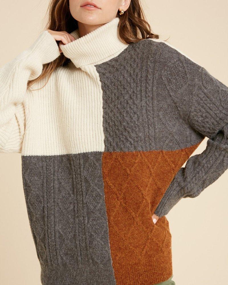 Wishlist Wishlist Cream Charcoal Combo 'I'll Block You' Colorblock Turtleneck Sweater **FINAL SALE**