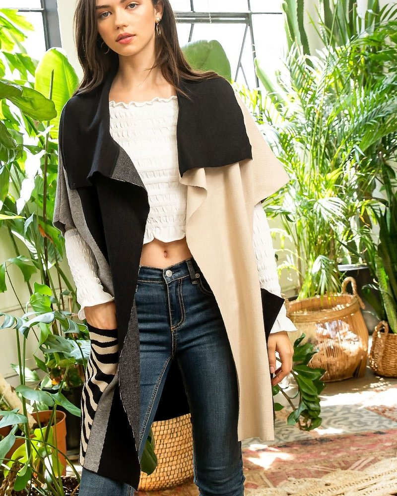 THML THML 'Mixed Breed' Open Drape Cardigan