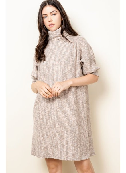 THML 'Don't Taupe To Me' Turtleneck Sweater Dress