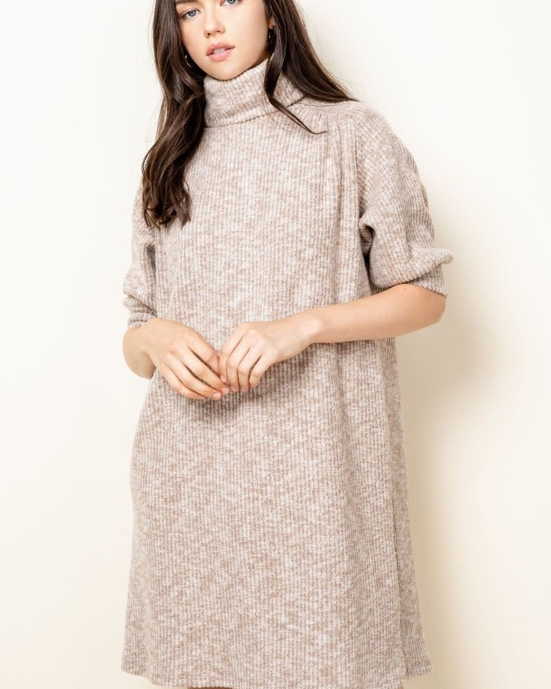 THML THML 'Don't Taupe To Me' Turtleneck Sweater Dress **FINAL SALE**