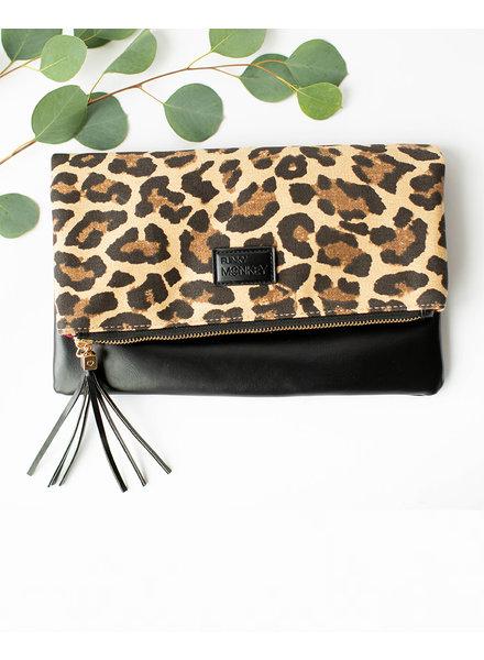 Funky Monkey Black Foldover Clutch | Leopard