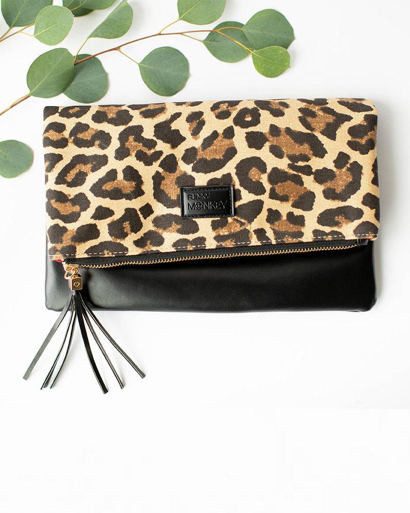Funky Monkey Funky Monkey Black Foldover Clutch | Leopard