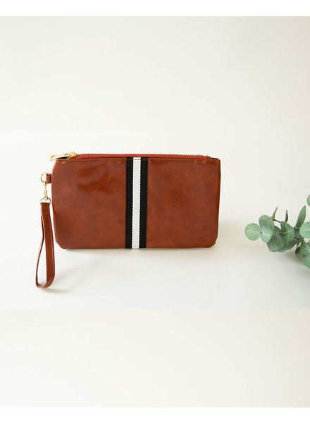 Funky Monkey Camel 'Preppy' Stripe Zipper Clutch | Black & White