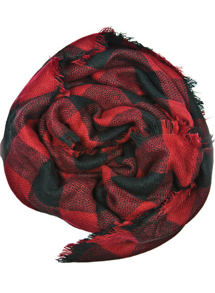 Belle Up Buffalo Check Infinity Scarf | Red & Black