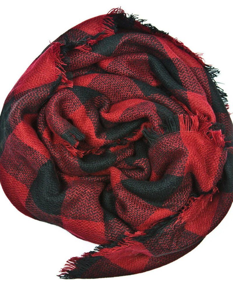Belle Up Buffalo Check Infinity Scarf   Red & Black