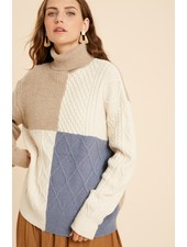 Wishlist Taupe Cream 'I'll Block You' Colorblock Turtleneck Sweater