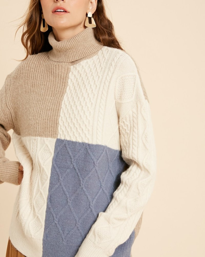 Wishlist Wishlist Taupe Cream 'I'll Block You' Colorblock Turtleneck Sweater