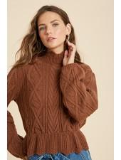 Wishlist Camel 'Scallops On The Menu' Ruffle Hem Sweater