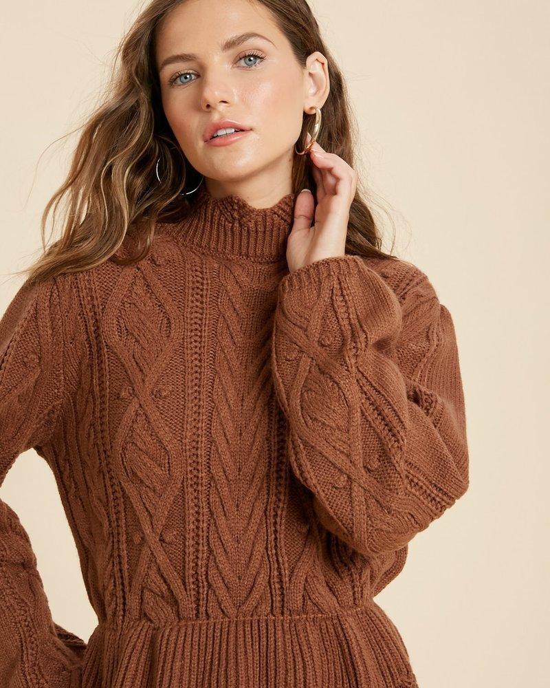 Wishlist Wishlist Camel 'Scallops On The Menu' Ruffle Hem Sweater