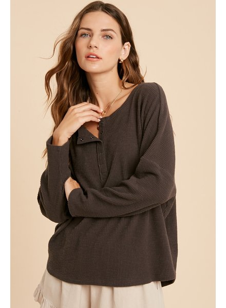 Wishlist Charcoal Brushed Rib Henley Top **FINAL SALE**