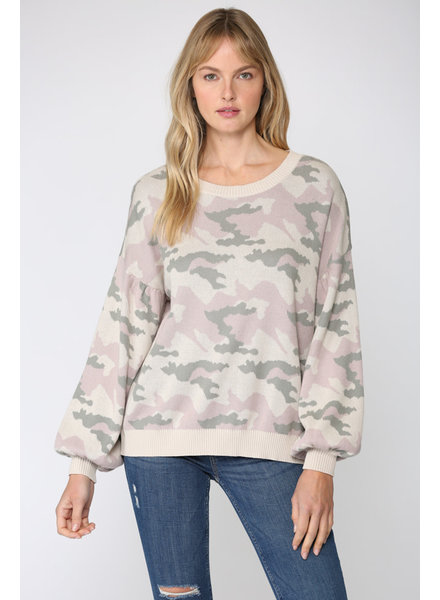 Fate by LFD 'You Caught My Heart' Camo Sweater