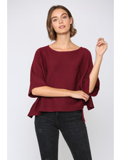 Fate by LFD Burgundy 'Cop the Crop' Batwing Top