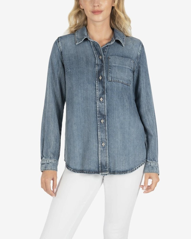 Kut from the Kloth Kut From The Kloth 'Grace' Tailored Button Up Denim Shirt