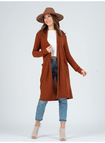 Lucca Couture Rust 'Jojo' Long Cardigan