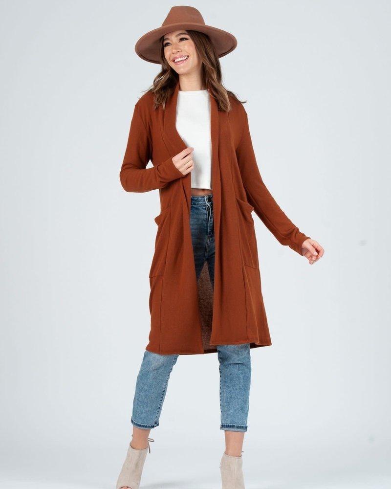 Lucca Couture Lucca Rust 'Jojo' Long Cardigan