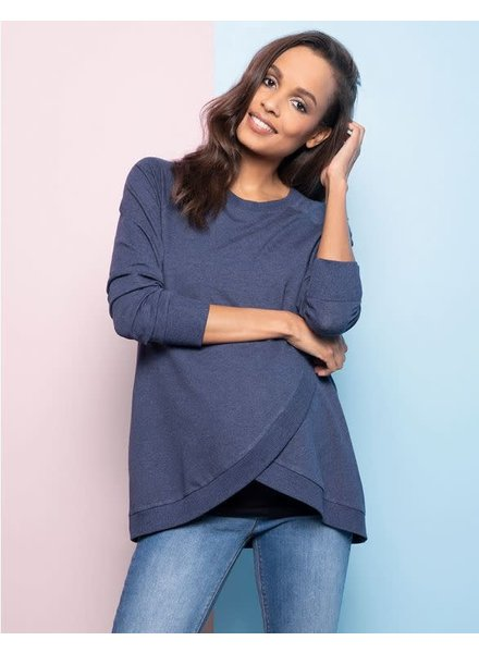 Seraphine Maternity Blue Marle 'Sybil' Front Wrap Sweatshirt