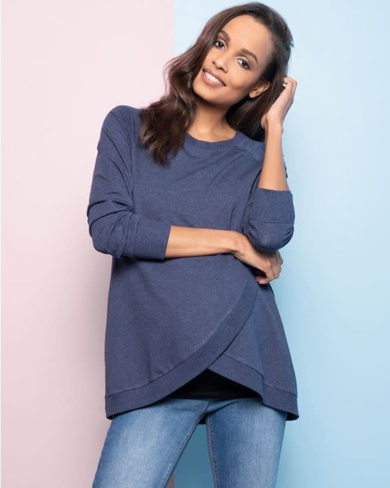 Seraphine Maternity Seraphine Maternity Blue Marle 'Sybil' Front Wrap Sweatshirt