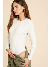 Wishlist Scalloped Mock Neck Knit Bodysuit