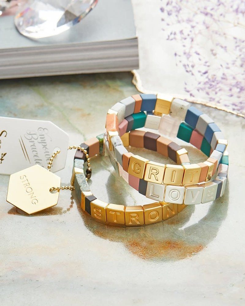 Scout Curated Wears Scout Empower Bracelet | Badass in Gold/Black Labradorite/Howlite