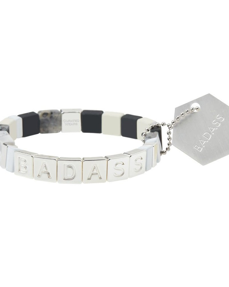 Scout Curated Wears Scout Empower Bracelet | Badass in Silver/Black Labradorite/Howlite